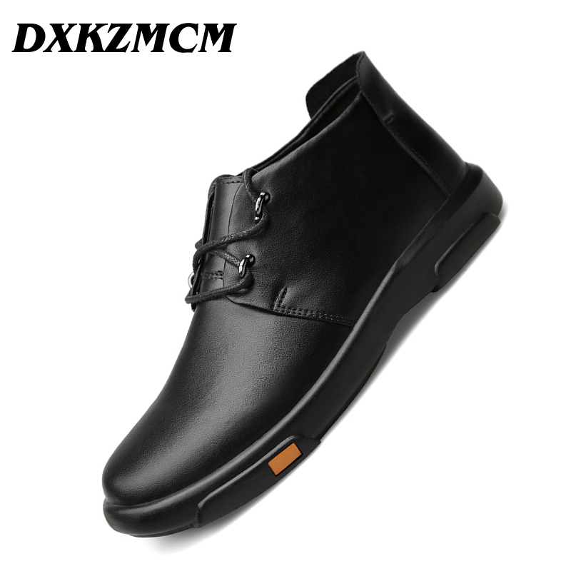 DXKZMCM Genuine Leather Men Boots Autumn Winter Ankle Boots Fashion Casual Footwear Shoes Men Shoes autumn winter men shoes vintage design fashion genuine leather ankle boots