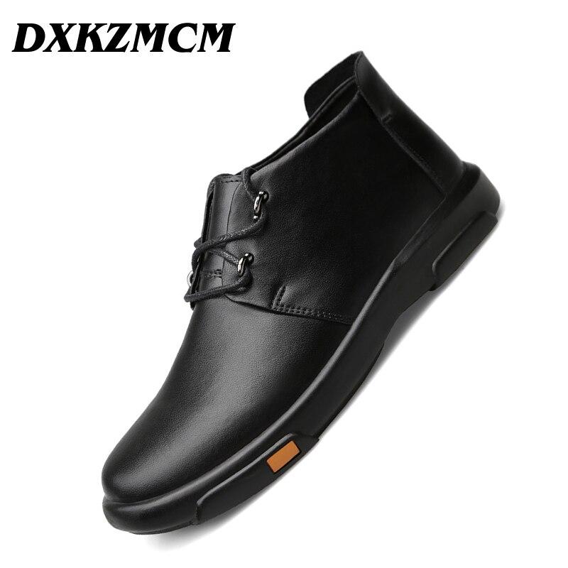 DXKZMCM Homens Botas De Couro Genuíno Outono Inverno Ankle Boots Moda Sapatos Calçados Casuais Dos Homens Sapatos
