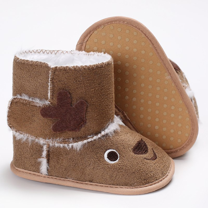 2017 Christmas Deer Winter Warm Snow Boots Lovely Baby Girl Soft Sole shoes Toddler Infant First Walkers Cotton Bottom Shoes