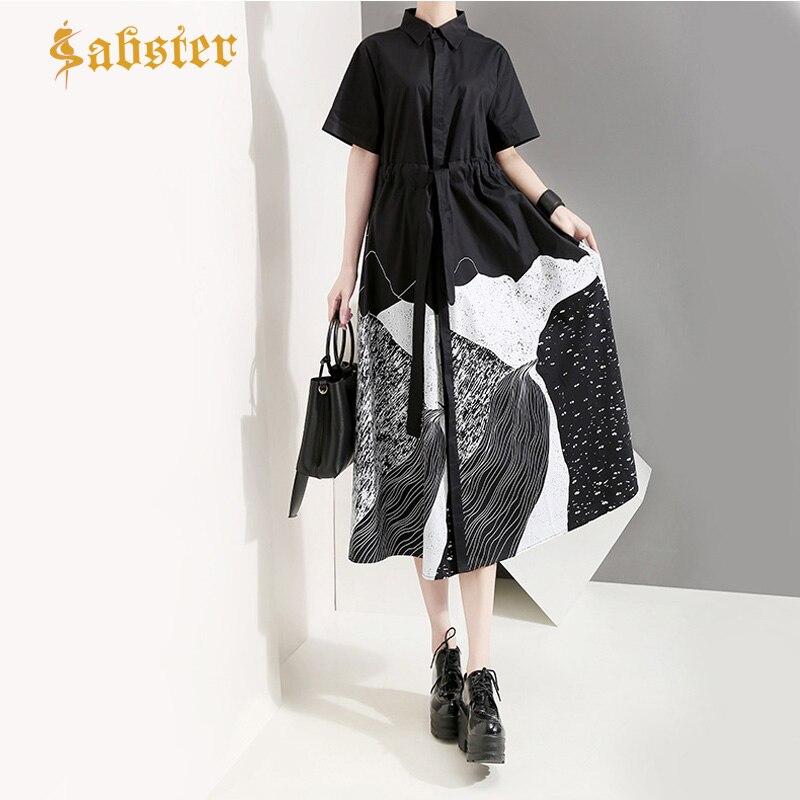 New 2019 Fashion Summer Women  Shirt Dress Painting Loose Black White Long Blouse Turn Down Collar Casual Dresses XZ397