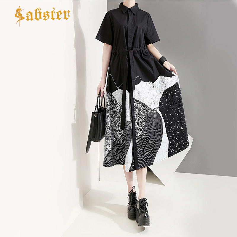 Nouveau 2019 mode été femmes chemise robe peinture lâche noir blanc Long Blouse Turn Down col robes décontractées XZ397