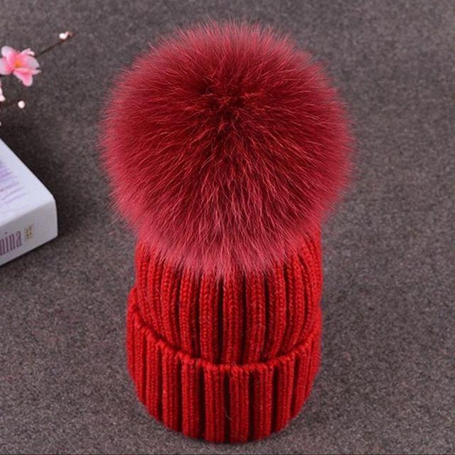 Inverno Neonati maschi Femmine Pompon di Pelliccia Cappelli di Lana  Cappelli Lavorati A Maglia Per capretti 76dd42f56342