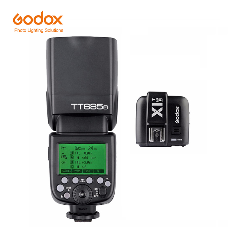 Godox TT685F 2.4G HSS TTL GN60 Flash Speedlite+ X1T-F Trigger Transmitter Kit for Fuji X-Pro2/X-T20/X-T1/X-T2 Camera цена