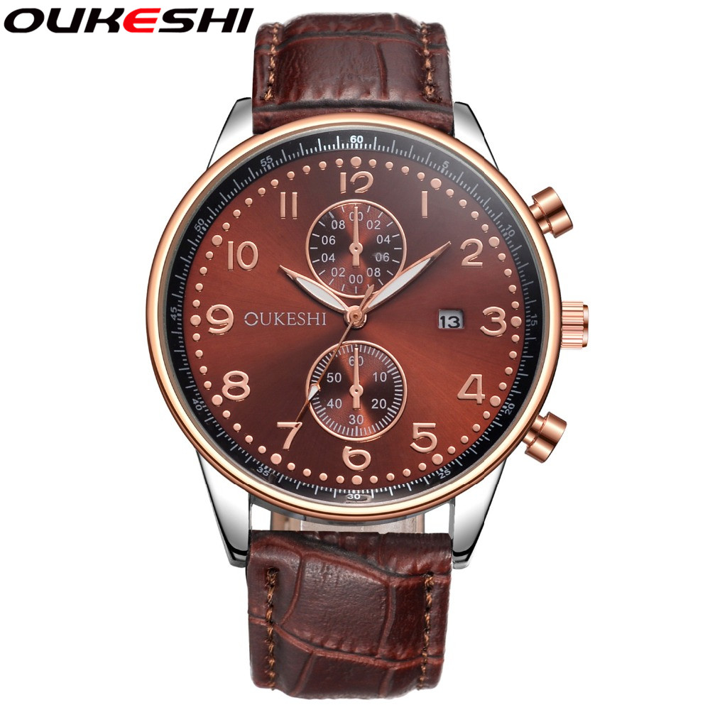 OUKESHI Brand Top Luxury Men Watches Rose Gold Leather Business Quartz Wristwatches Relogio Masculino OKS01
