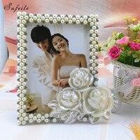 SUFEILE Nowoczesny Oszczędny HD Szkło 8 cal Zdjęcie Ramki na zdjęcia Europejczyk styl Fototapety Rama Perła Diament Wedding Photo rama D50