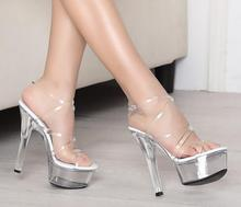 2018 summer sexy super high heel sandals, 15CM thin and transparent crystal shoes, married women's style sandal model shoes