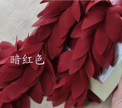 Donkerrode chiffonbladeren florals Trim bruiloft decors partij - Kunsten, ambachten en naaien