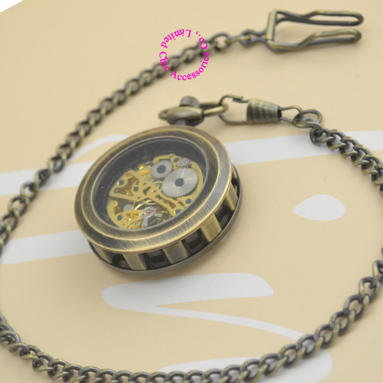 new fashion good quality vintage retro antique bronze men grandfather gift steampunk mechanical pocket watch hour with chain
