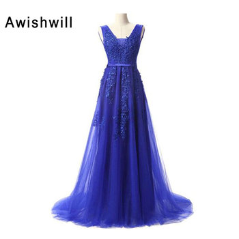 Real Photo Sexy Royal Blue Prom Dresses Long Backless Beading Appliques Robe de Bal Longue Party Cocktail Dress Cheap Prom Dress