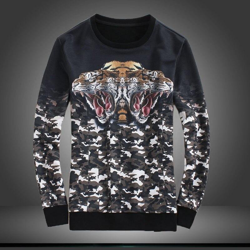 Creative tête de tigre camouflage numérique impression de luxe à manches longues t-shirt Automne 2018 Nouvelle qualité coton élastique t shirt hommes m-5XL