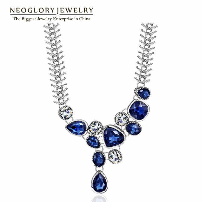 Neoglory Crystal Zinc Rhinestone Short Chokers Necklaces Pendants for Women 2020 New Brand Blue Elegant Romantic