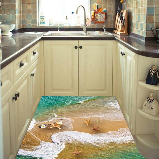 3d beach stone starfish floor wall sticker for kids room waterproof bathroom floor sticker mural decals