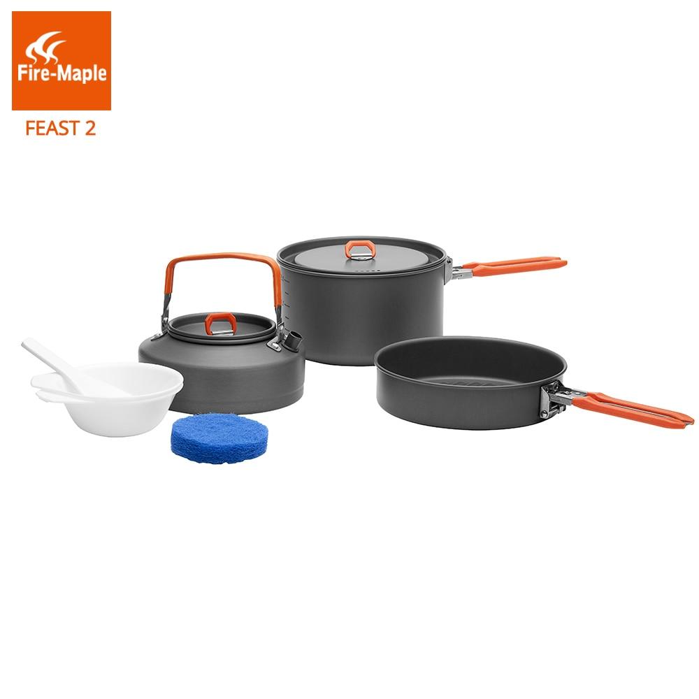 Bordo fogo Piquenique Dobrável Pot Pan Set Ao Ar Livre de Acampamento Caminhadas Mochila Panelas de Cozinha Lidar Com Liga de Alumínio 2 Festa FMC-F2