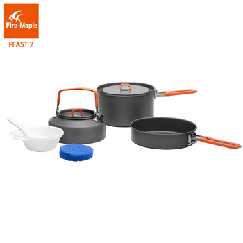 цена на Fire Maple Picnic Pot Pan Set Outdoor Camping Hiking Cookware Backpacking Cooking  Foldable Handle Aluminum Alloy Feast 2 FMC-F2
