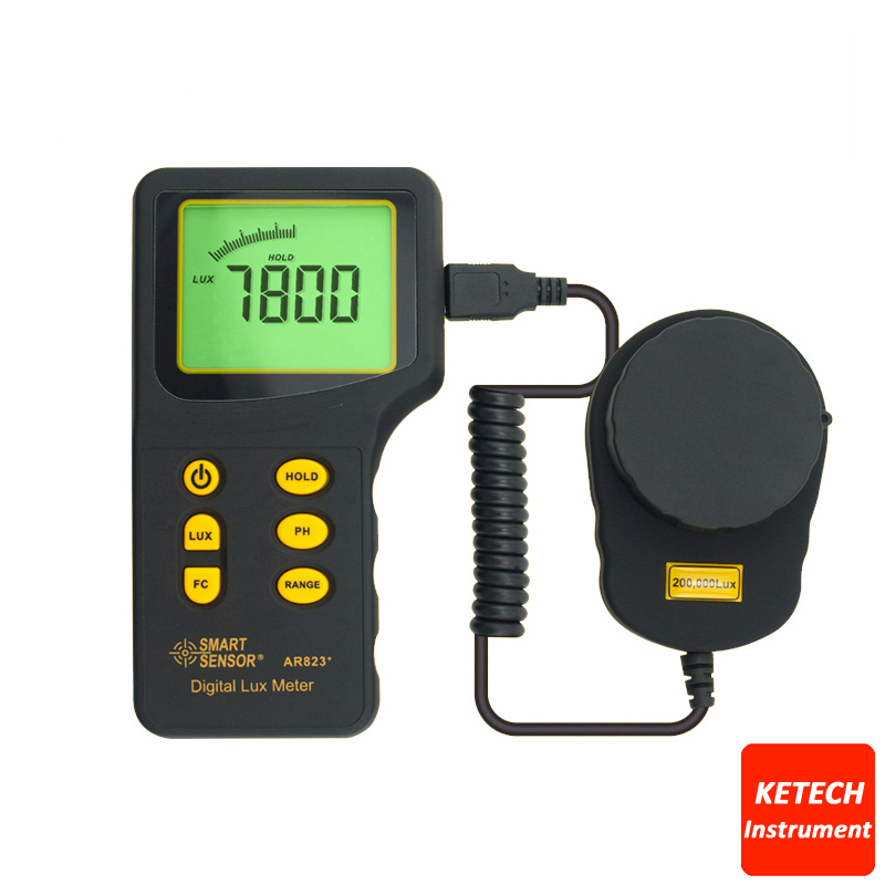 Digital Light Lux Meter 200.000lux Luxmeter Luminometer Photometer Lux/FC AR823 1pc precision 200 000 lux light meter digital light meter luxmeter lux fc meter luminometer photometer tester