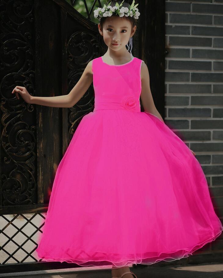 Ankle-length Flower Girl Dress Sleeveless Flower Ball Gown Wedding Party Dresses Back Bandage Kids Clothes Vestido Infantil