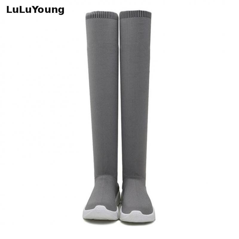 d1955b073791 Low Heel Thin High Leg Elastic Women s Boots Over The Knee Socks Boot Shoes-in  Over-the-Knee Boots from Shoes on Aliexpress.com