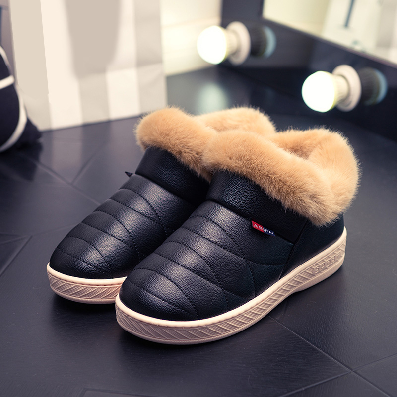 2018 Women Boots Waterproof Winter Warm Fur Ankle Boots Couple Home Thick Soled Warm Cotton Shoes