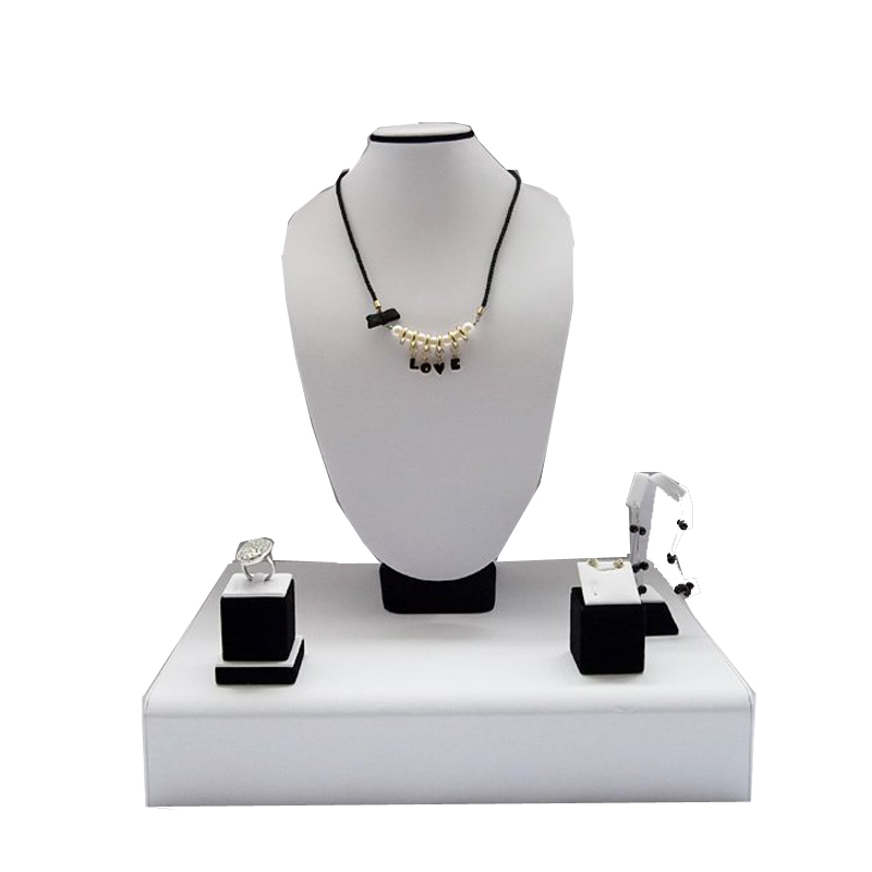 Fine Wood Counter Display Stand Kit Pendant Necklace Earring Ring Stands Holder Set Window Showcase Props for Jewelry Display все цены
