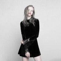 Gothic Dark Black Gothic Lace Stitching Comfortable Velvet A Pendulum Sexy Women Dress