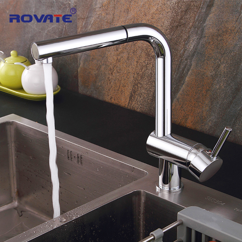 ROVATE Sink Taps Kitchen Faucet Pull Out Spout Brass Chrome Single Hole Mounted Cold And Hot Mixer Rotatable Faucet