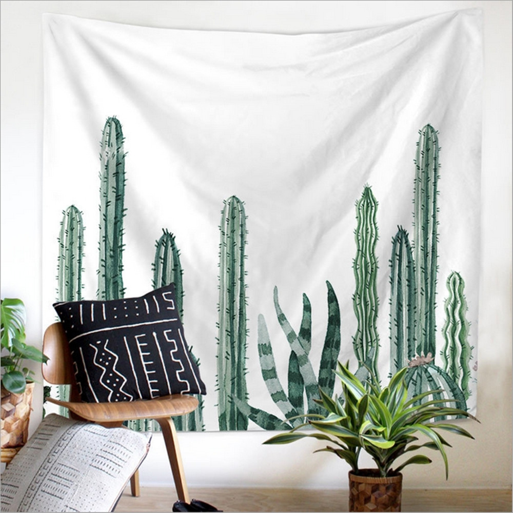 Home Decor Polyester Fabric Nordic Cactus Tapestry Wall