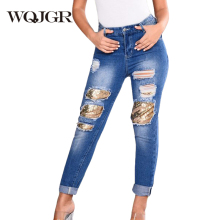 WQJGR 2018 Summer New Holes Jeans Women Trousers Sequins Patch Straight High Waist Loose Boyfriend Denim Pants Plus Size