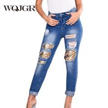 WQJGR 2018 Summer New Holes Jeans Women Trousers Sequins Patch Straight High Waist Jeans Loose Boyfriend Denim Pants Plus Size wqjgr 2019 news fashion zipper patch decoration trousers boyfriend jeans woman