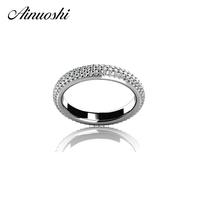 AINOUSHI Lovers Promise Eternity 925 Sterling Silver Ring Classic Design Jewelry Wedding Rings for Women Jewelry