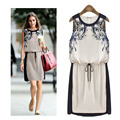 Hot selling new fashion summer style casual print dress,Printed sleeveless waist dress was thin straps A1006