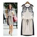 Venta caliente nueva moda del estilo del verano de impresión del vestido ocasional, impreso sin mangas de la cintura era tirantes finos A1006