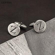 Лептон буквы z запонки «Алфавит» для мужчин античные Посеребренные