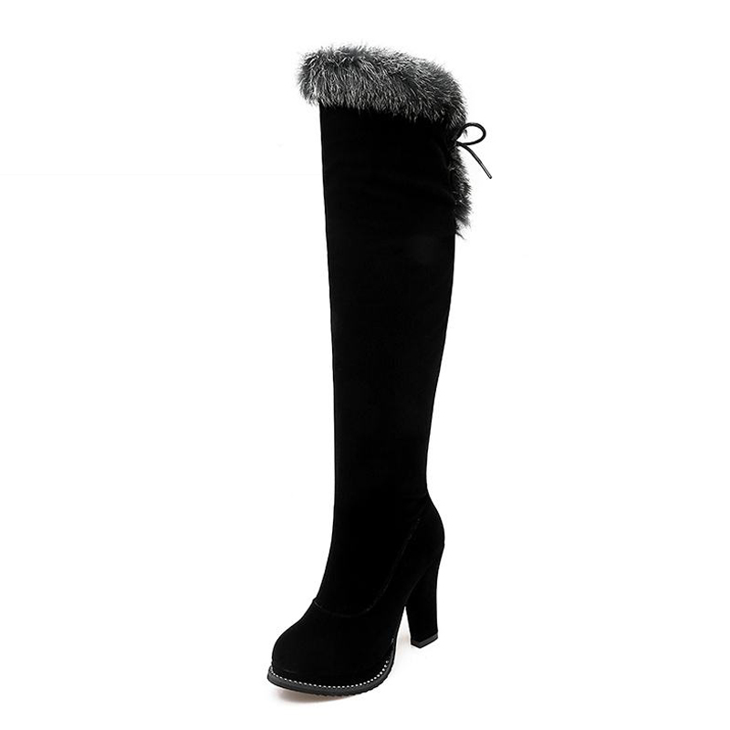 ФОТО Big Size 33-43 High Thick Heels Thigh High Boots Zip High Quality Women Boots Lace Up Fur Charm Fall Winter Boots Platform Shoes
