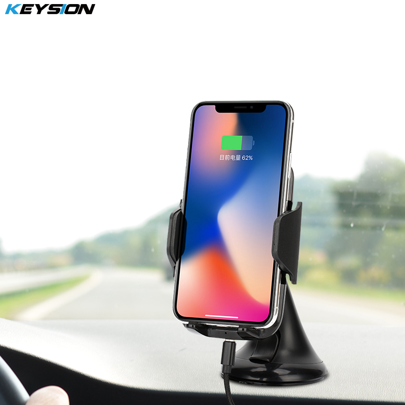KEYSION 10.8W Fast Charger Qi Wireless Car Charger ChargingPad for iPhone X 8 8 Plus Samsung S8 Note8 S9 Car Suction Mount Stand