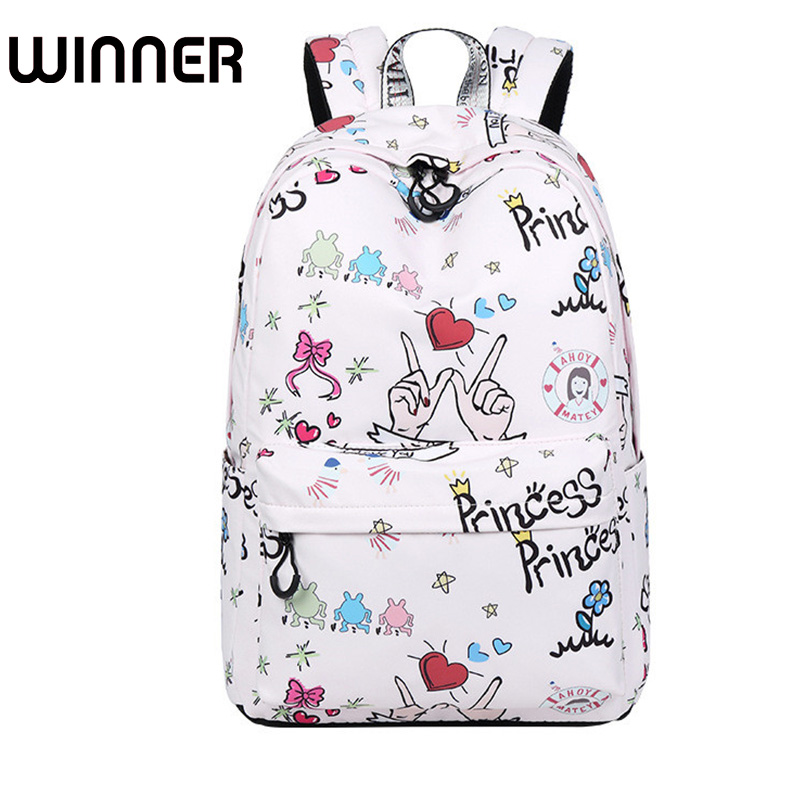 Youth Waterproof Polyester Fabric Women Backpacks Cute Cartoon Pattern Printing College Girls Daily Laptop Mochila custom unique design original brown tree ring wood pattern waterproof bathroom shower curtain polyester fabric 48 w x72 h