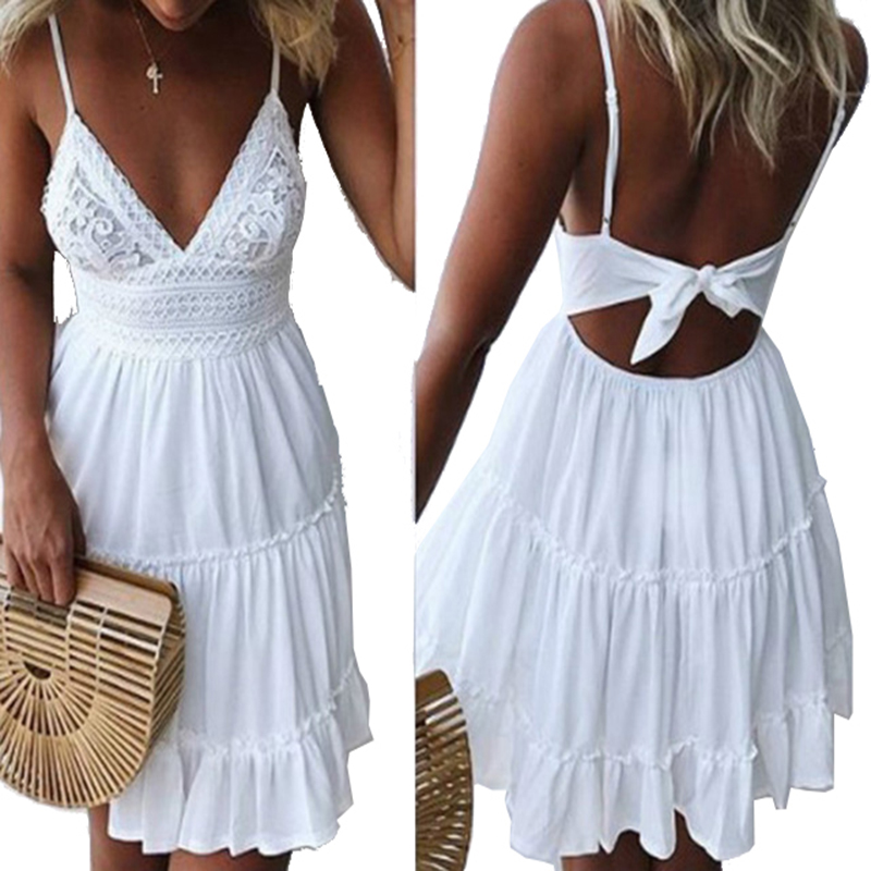 Girls White Summer Dress Spaghetti Strap Bow Dresses Sexy Women V-neck Sleeveless Beach Backless Lace Patchwork Dress GV463
