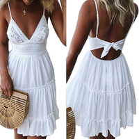 Girls White Summer Dress Spaghetti Strap Bow Dresses Sexy Women V Neck Sleeveless Beach Backless Lace