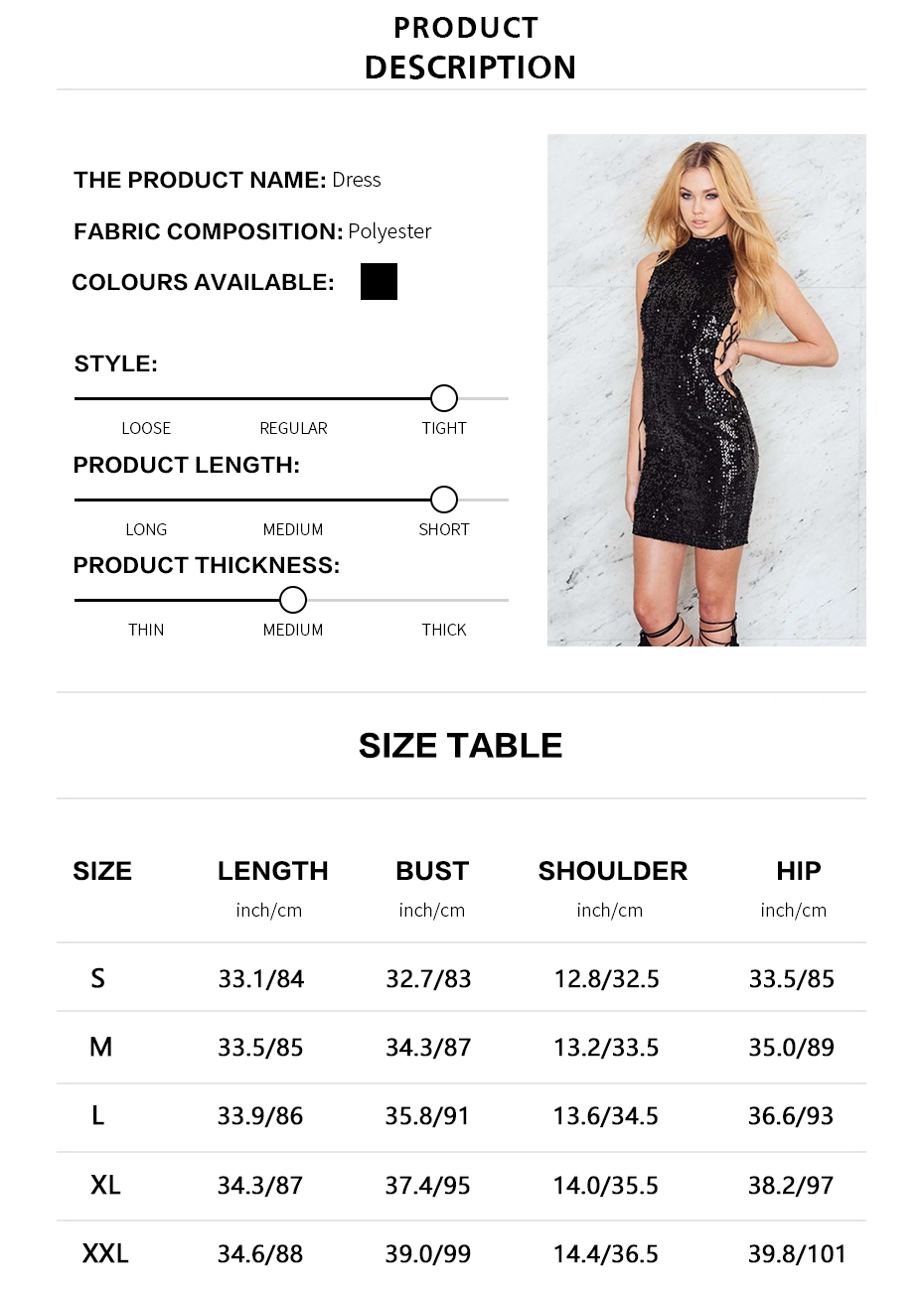 HDY Haoduoyi 2017 Fashion Women Summer Dress Sexy Club Sheath Sleeveless Sequined Dress Natural MIni Stand Solid Black Vestidos 1