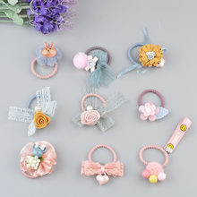 Kids Hair Accessories Little Girl Hair Flower Ribbon Bow With Elastic Hair Bands Mini Bow Hair Ropes AS0341(China)