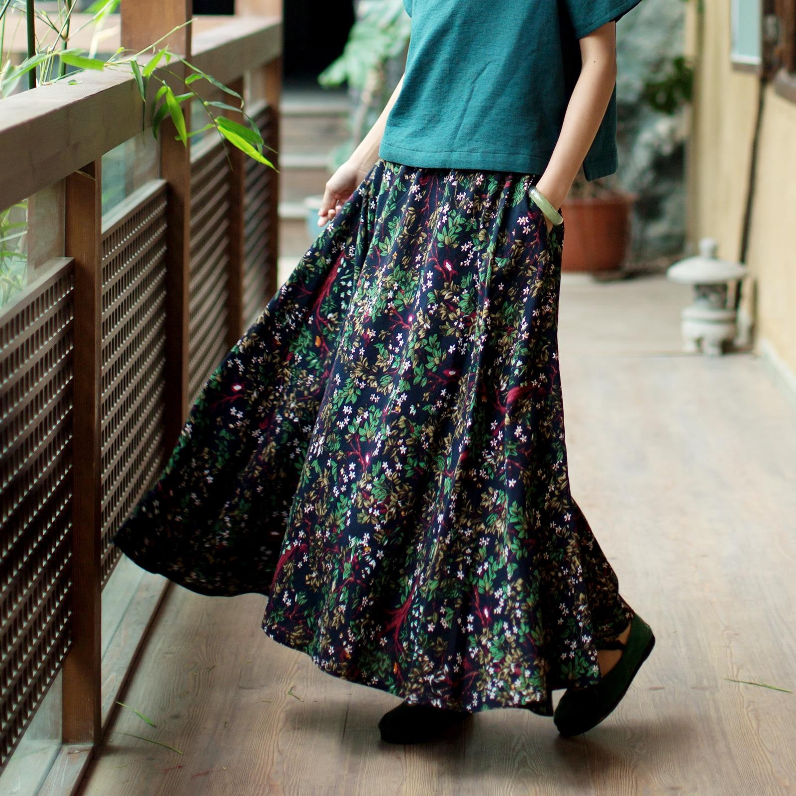 Summer New Long Beautiful Floral Large Hem Women Cotton Linen Skirt Trendy Ethnic Colorful Flowers Novelty