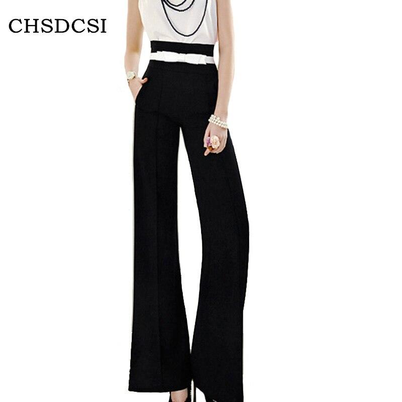 CHSDCSI Ladies Casual Work Long Trousers Women   Wide     Leg     Pants   Cotton High Waist Stretch Loose Pockets Black S-XXL Office   Pants