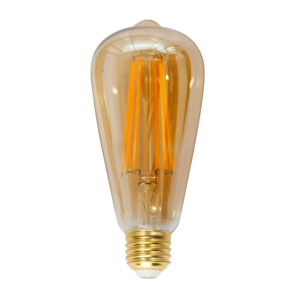 ST64 Vintage Edison LED Long Filament Light Bulb 6W Screw E27 Old Fashioned Decorative LED Light Bulb Retro Coated Glass Lamp
