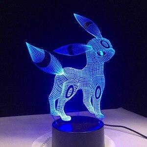 Image 3 - Umbreon Pokemon Go 3D Acrylic Night Light USB Sleep Light 3AA Battery 7 Color Change Table Lamp Bedroom Decor Kids Birthday Gift