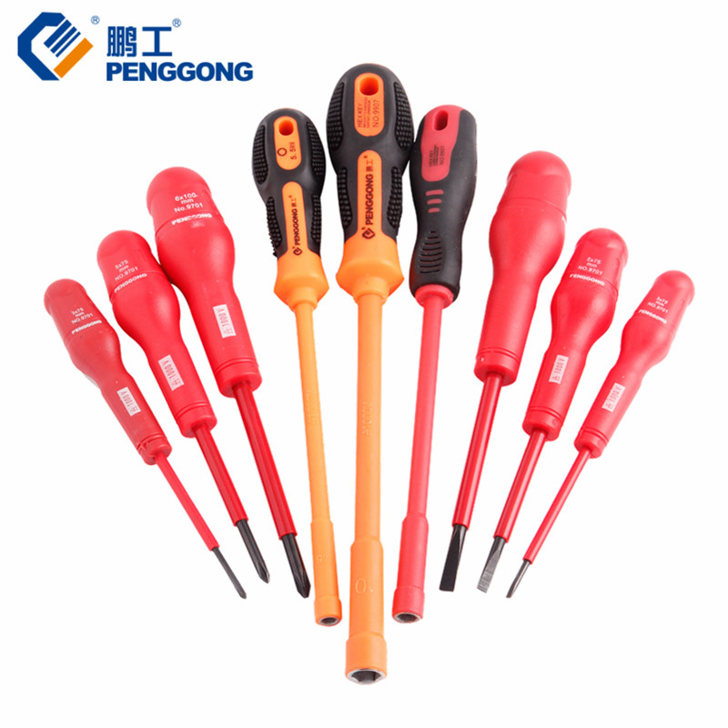 PENGGONG Insulated Screwdriver Set Magnetic Electronic Screwdriver Bits Phillips Slotted Hex High Voltage 1000V Hand Tool