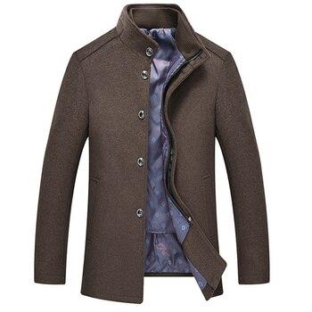 New Winter Woolen Coat Men Fashion Cotton Liner Wool Blend Jacket Mens Casual Warm Outerwear abrigo hombre Grey/Wine Red
