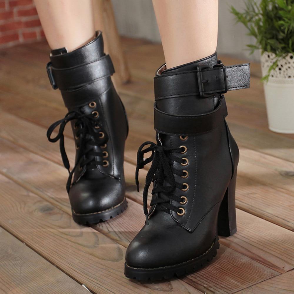 2018 À D'hiver Femelle Neige Hauts Bottes Cheville Lacent Pour En Occasionnel De Chaussures Noir Femme Femmes Cuir Youyedian Talons tH6wEx