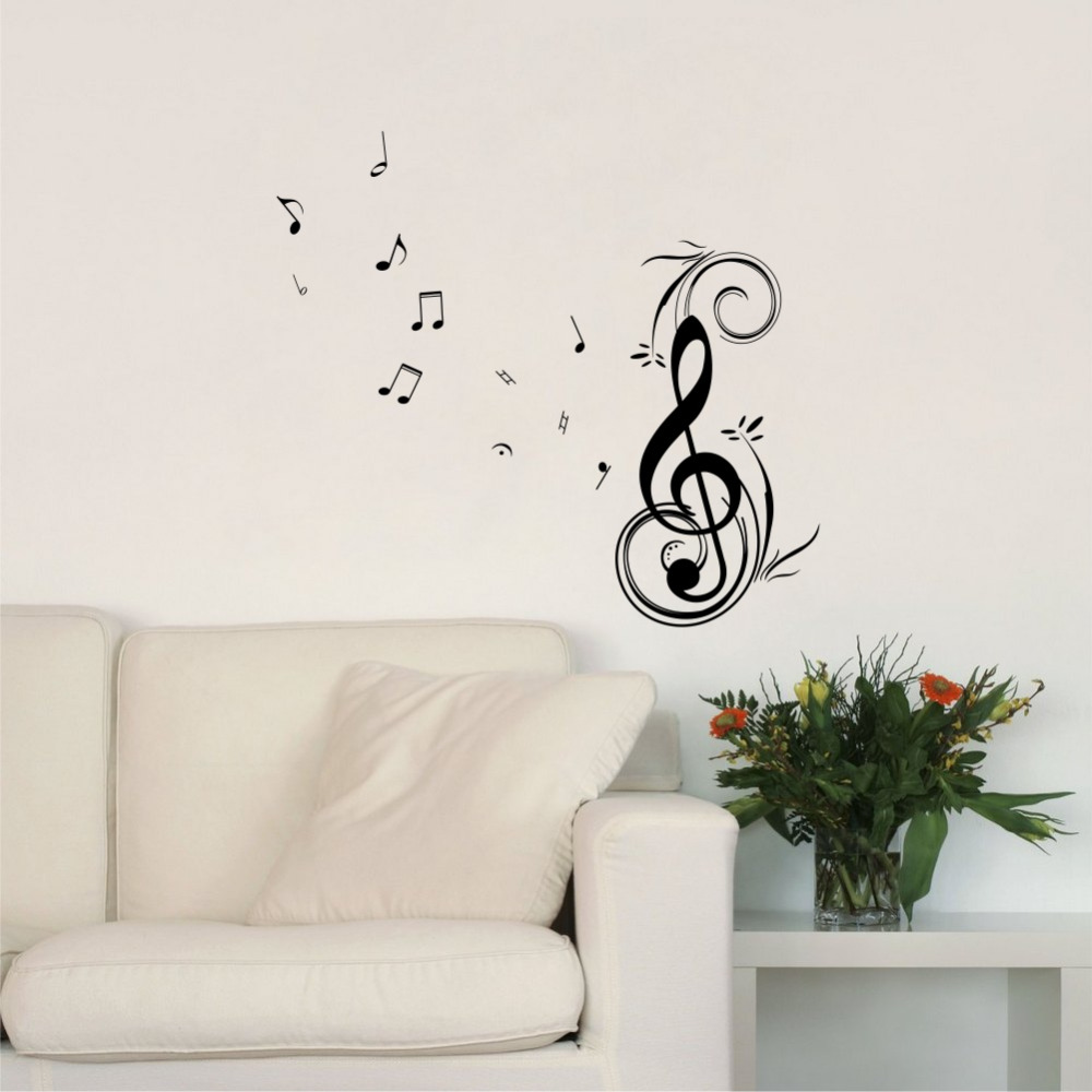 Removable Wall Art Decals Dancing Music Notes Vinyl Wall Stickers Home Decor Many Colors