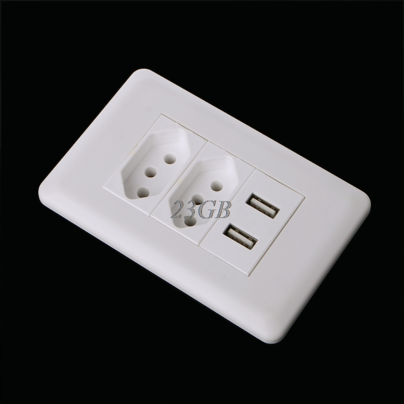 15A Wall Double Standard Power Socket Adapter Dual Ports USB Charger Panel 5V 2.1A F27 все цены