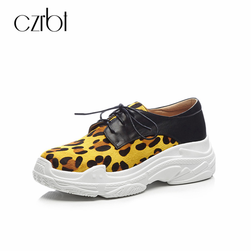 CZRBT 2018 Sneakers Women Leopard Casual Flat Platform Shoes Spring Autumn Thick Bottom Breathable Sneakers Flat Shoes Women sneakers woman 2018 spring and autumn season new pattern korean plate thick bottom chalaza casual old women s shoes