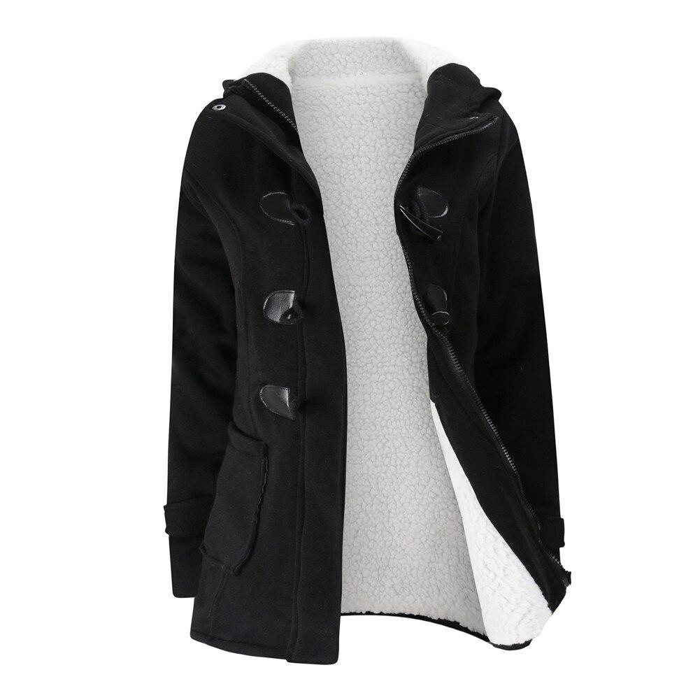 Jacket Coat Winter Women 2019 Hooded Wool Blend Praka Classic Horn Leather Buckle Coat Slim For Ladies Winter Jacket Woman Parka 8